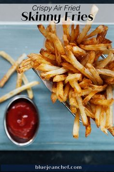 The Best shoe string french fry recipe is right here! Air Fry your french fries to make them with less fat and oil. Check out this version for great fries that you don't have to feel bad about eating! Super simple and super crispy!! #bluejeanchef #airfryer