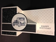 Z-Fold Swinging Technique, Guy Greetings, Masculine Birthday Card, Stampin' Up!, Rubber Stamping, Handmade Cards