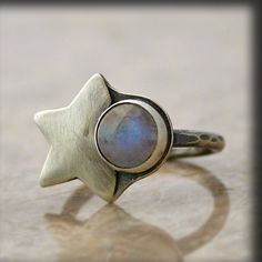 Moon and StarsMoonstone and Oxidized Silver Ring by caroleaxium, $45.00