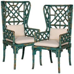 Teal Bamboo Wing Back Chairs - Pair - Coastal Cottage Cottage Furniture, Bamboo Furniture, Cool Furniture, Painted Furniture, Bamboo Chairs, Rattan Chairs, Furniture Vintage, Furniture Ideas, Wicker