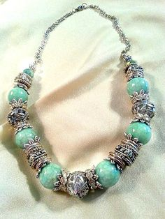 Silver and Teal Statement Necklace  Turquoise by MissGawdysJewelry