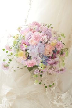 There's something magical about flowers, isn't there? Pastel Bouquet, Pastel Flowers, Bridal Flowers, Beautiful Flowers, Bride Bouquets, Floral Bouquets, Beautiful Flower Arrangements, Floral Arrangements, Cherry Blossom Wedding