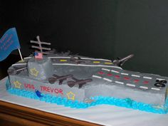 Aircraft Carrier Cake - This was made from 5 9X13's. Chocolate mold airplanes!