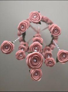 Finest 100% wool pale blush pink Felt flower mobile roses | Etsy Felt Roses, Felt Flowers, Fabric Flowers, Satin Flowers, Ribbon Flower Tutorial, Bow Tutorial, Flower Mobile, Baby Girl Nursery Decor, Floral Nursery