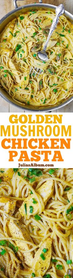 Golden Mushroom Chicken Pasta - tender chicken breast and spaghetti smothered in a rich creamy sauce made with golden mushroom soup.