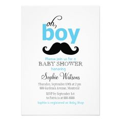 Blue It's a Boy Mustache Baby Shower Invitations from Zazzle.com