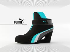 Sporty High Heels  The Puma Speed Kitty is a concept shoe that combines the structure of a platform bootie with the feel of a Puma racing shoe. Sporty, futuristic, and definitely Tron approved! Can't you imagine Quorra kicking butt in these?