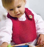 Crochet baby bib w lacy neck strap
