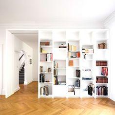 Hampstead House - modern - Family Room - London - Openstudio Architects Ltd Bookshelves In Bedroom, Modern Bookshelf, Library Shelves, Bookshelf Design, Bookshelf Ideas, Shelving Ideas, Book Shelves, Bookshelf Decorating, Rustic Bookshelf