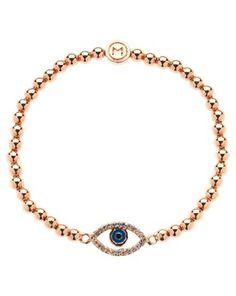 Melissa Odabash Evil Eye Stretch Bracelet, Rose Gold, John Lewis