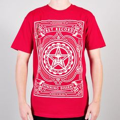 Obey Spinning Dissent T Shirt - Red