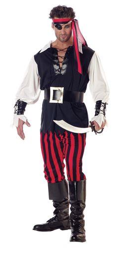 Cutthroat Pirate Shirt, Pants, Head Tie, Boot Tops, Belt, Wrist Cuffs