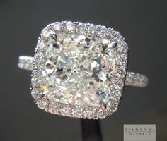 3 01ct J VS2 Cushion Cut GIA Diamond Halo Ring R4874 Diamonds by Lauren