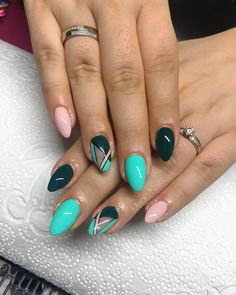 Aqua evergreen nude abstract simple lines nail art