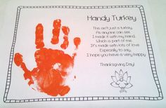 Make a memory with your child's hand print at Thanksgiving!
