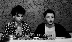 """""""I never tried to fulfill my best dreams. Only to re-dream them."""" - Mireille Perrier and Denis Lavant in Leos Carax's """"Boy meets Girl"""", 1984."""