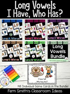 First Grade? Second Grade? Fourth? I've Broken My Store Down Into Categories To Help You! Featured Here are my Long Vowels I Have, Who Has? Card Games for you! Kindergarten Themes, Classroom Freebies, Classroom Ideas, First Grade, Second Grade, Reading Centers, Literacy Centers, Go Math, 5th Grade Teachers