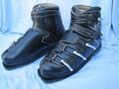 Ski Boots Henke Black Leather Vintage Alpine Downhill Switzerland Sz 8 N | eBay