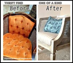 for your garage sale chair! Amazing Thrifted Chair Makeover - Before and After Chair Redo, Chair Makeover, Diy Chair, Furniture Makeover, Furniture Refinishing, Furniture Repair, Repurposed Furniture, New Furniture, Painted Furniture