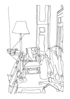 continuous line drawing living room