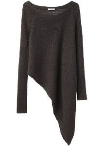 Asymetrical sweater..I would love to pair these with some aqua color skinny jeans.