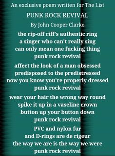 """John Cooper Clarke, which is Alex's favourite poet, wrote this poem for """"The List"""", wich seems to perfectly describe Arctic Monkeys' first years. John Cooper Clarke, The Last Shadow Puppets, Good Doctor, Arctic Monkeys, Creative Writing, Punk Rock, Manchester, Funny Stuff, Poetry"""