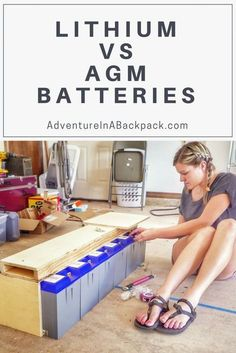 a Solar Battery Bank for a DIY Camper Van Conversion Adventure in a Backpack Solar Update: Find out the big differences between AGM and Lithium batteries for a solar battery bank in a camper. Choosing a solar Battery Bank Cordless Drill Batteries, Ryobi Battery, Solar Battery, Lead Acid Battery, 18650 Battery, Battery Hacks, Solar Panel Cost, Solar Panels For Home, Renewable Energy