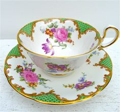 Vintage Aynsley Green Floral Tea Cup and Saucer 1960