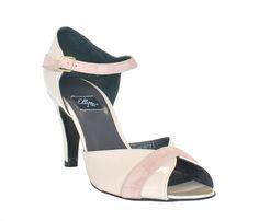 Sandale à bout rond beige et rose pâle, 100% cuir et cuir vernis.    La hauteur…
