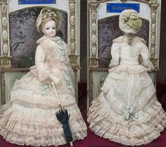 "14 1/2"" (37 cm) Antique French Fashion Jumeau doll poupee parisienne in wonderful costume"