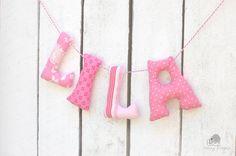 Baby fabric name banner name bunting custom made by CheekyStitches