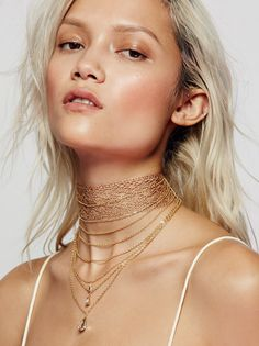 Alexandria Draped Lace Choker | Shimmering wide lace choker featuring delicate chains dangling below with pretty teardrop accents. Adjustable lobster clasp closure.