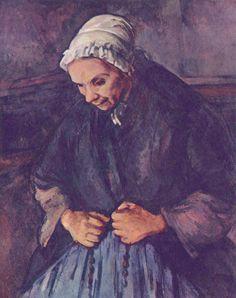 Paul Cézanne.  Greisin mit Rosenkranz. 1895-1896, Öl auf Leinwand, 80 × 64 cm. London, National Gallery. Frankreich. Postimpressionismus.  KO 01095