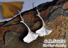 Handmade Silver Ginkgo Earring, Handmade Silver Earrings, Solid Silver Ginkgo Leaf Earrings