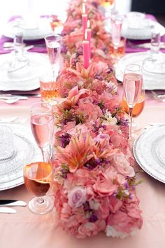 pink wedding details, ombre table, clear chairs, pink wedding flowers runner, lavish tablescape