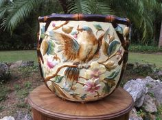 Monumental Antique Sarreguemines Majolica Jardiniere Planter, fm987  --  Currently Available for purchase on eCRATER.com