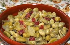 Receta Habitas con cebolla y jamón HortoGourmet/Broad beans with Spanish ham and onion