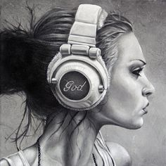 portrait painting of young woman listening to god on headphones laminated print | Brent Schreiber | $30