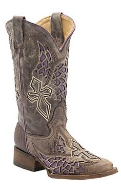 Corral Ladies Distressed Chocolate with Winged Cross Purple Inlay Square Toe Western Boots