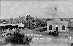 Garland Square, Garland, Texas, 1907. The light building has Citizens National Bank sign on it. Postcard