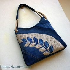 Embroidered denim bag Jeans bag with ribbons embroidered Recycled fabric sac Summer floral purse Shoulder bagful Eco friendly tote bag Patchwork Bags, Quilted Bag, Crazy Patchwork, Patchwork Quilting, Denim Purse, Tote Purse, Bag Quilt, Denim Handbags, Mk Handbags