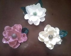 Flowers-made by melting plastic spoons!