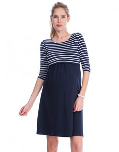 Sparkle Striped Nursing Dress blue Add a nautical touch to your style with Seraphine's Striped Nursing Dress – a must have before, during and after pregnancy. Made in soft stretch jersey with subtle sparkles woven through the stripes, this A line dress for pregnancy drapes effortlessly over your curves. Then after baby is born, it offers simple lift up access for easy breastfeeding. A year-round style, pair it with sandals and shades through summer, then dress it up with tights & boots when…