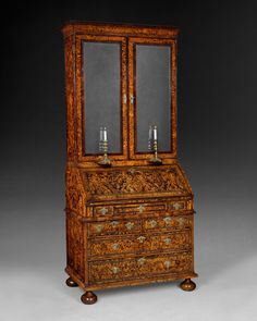 """They really do not come any better than this beautiful Bureau Bookcase attributed to John Coxed and made Circa 1710. """"Mulberry"""" cross banded in Rosewood and with lines of pewter inlay."""