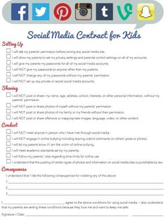 Media Contract for Kids Social media contract for children. Love this as a conversation starter for tweens.Social media contract for children. Love this as a conversation starter for tweens. Parenting Teens, Parenting Advice, Parenting Styles, Step Parenting, Parenting Classes, Parenting Quotes, Internet Safety, School Counseling, Raising Kids