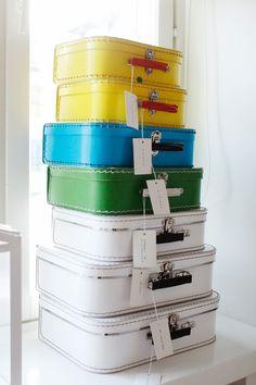 Multi-colored suitcases.