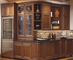 Florence Cherry Glass Doors By Bellmont Cabinets   Bar Area A Good Find.  Beverage Center