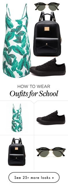 """""""Not Ready For School"""" by mpvargas on Polyvore featuring Converse, Ray-Ban, Summer, dress, tropical and 5280PoshAve"""