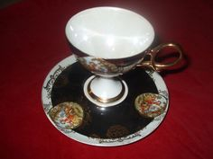 Shafford footed hand painted tea cup and saucer Japan