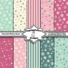 Digital Printable Paper for Cards, Crafts, Art and Scrapbooking Set of 10 - Cheerful Winter Snow - Instant Download